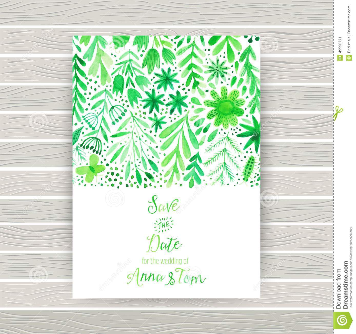 Vector Watercolor Invitation Card With Flowers And Plants Floral
