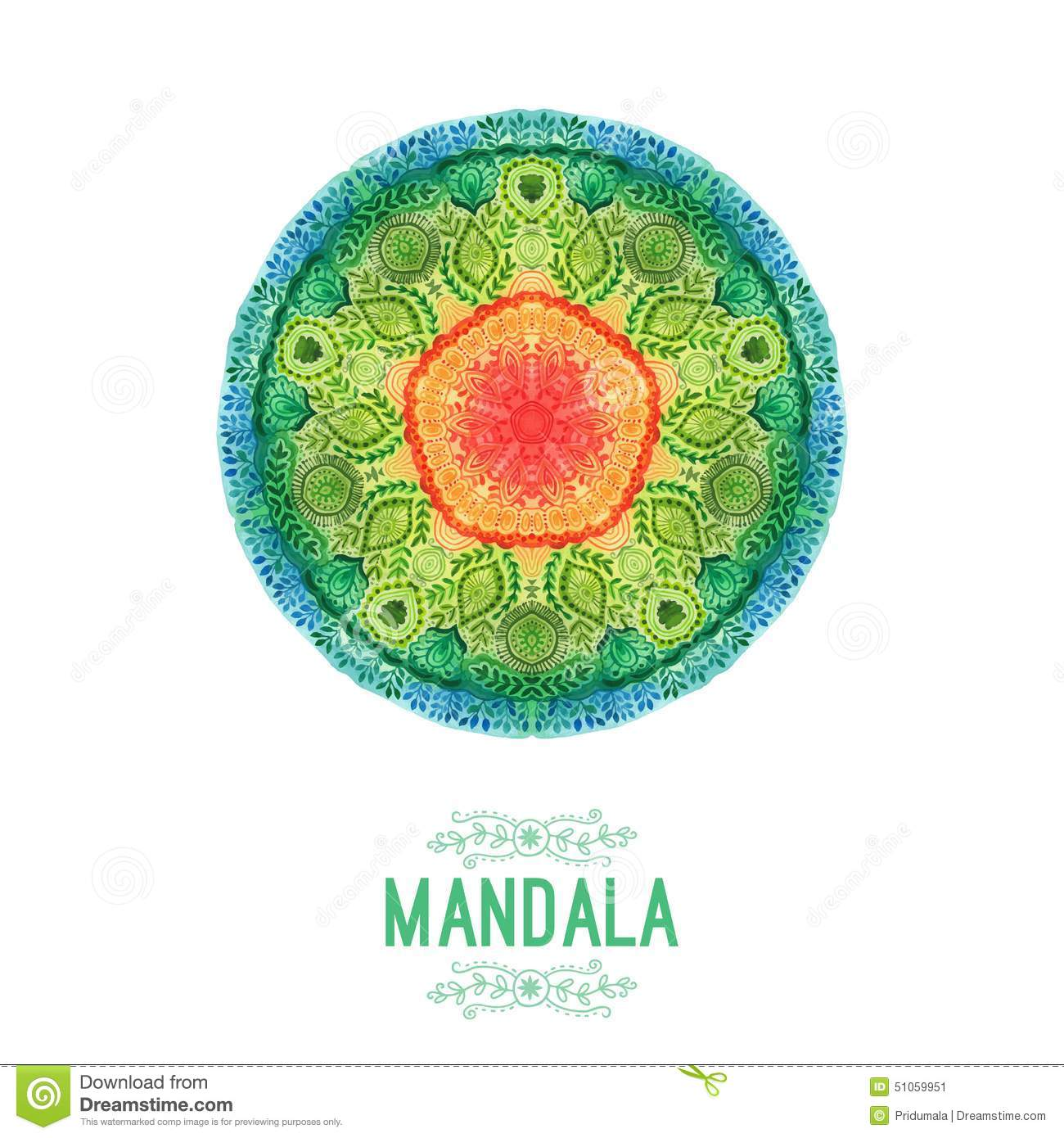 Vector watercolor mandala. Decor for your design, lace ornament. Round pattern, oriental style.