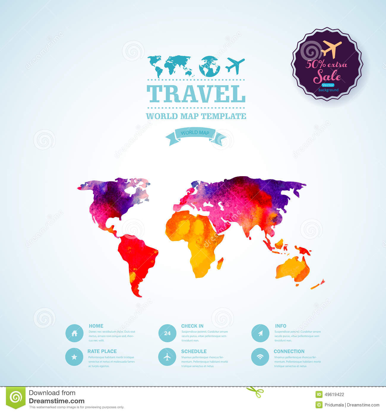 Map Design Website Template: Vector Watercolor Map, Web And Mobile Template. Corporate