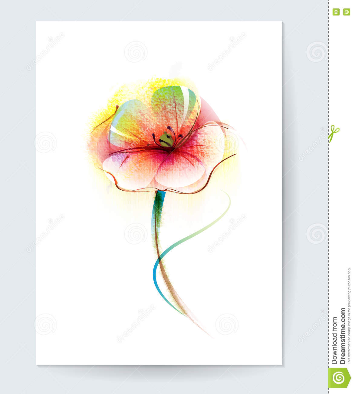 Vector watercolor painting poppy flower red poppy flower background vector watercolor painting poppy flower red poppy flower background for greeting card decorative color m4hsunfo Image collections