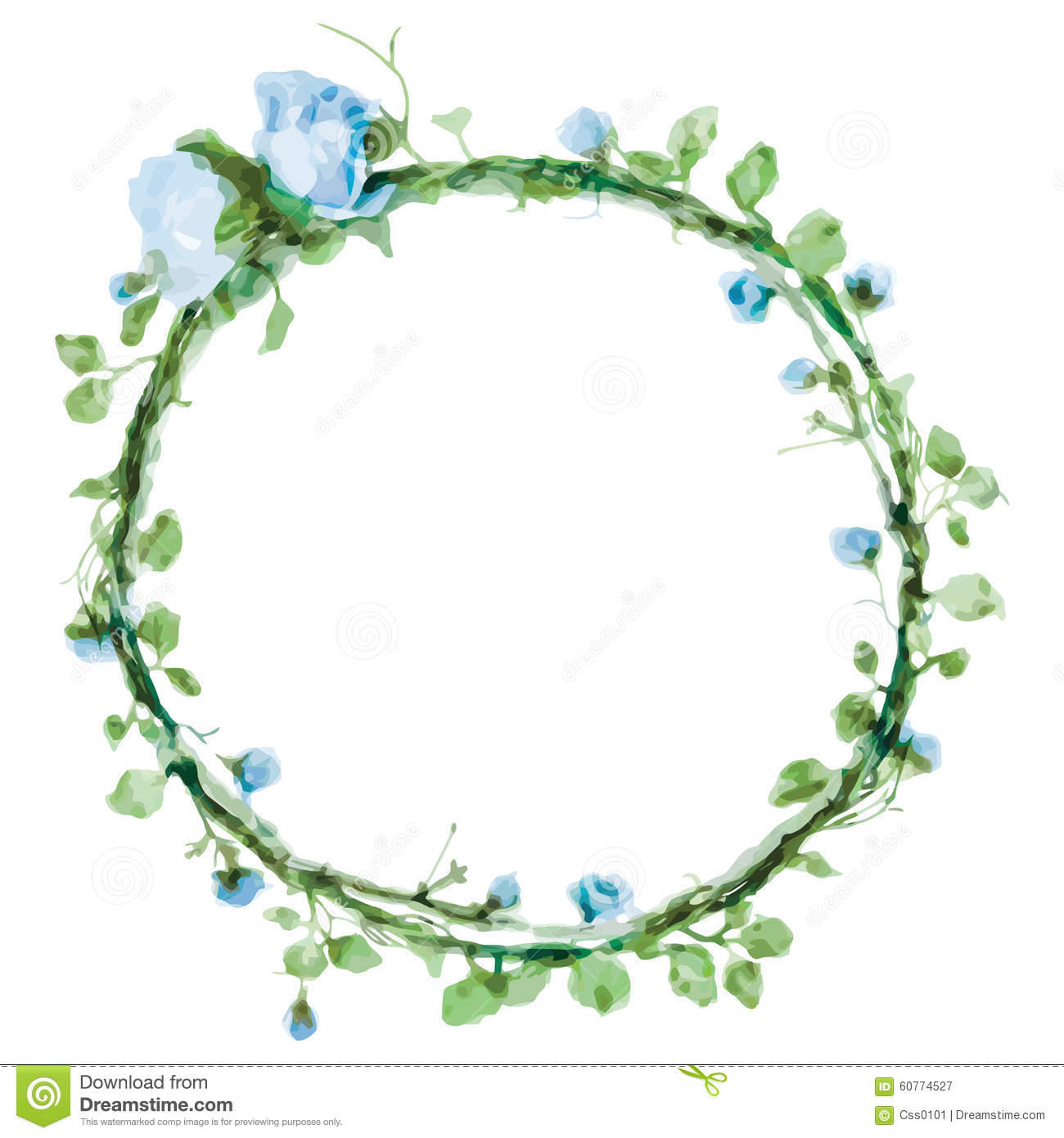 Vector Watercolor Round Frame With Roses And Foliage Elements Hand Draw Floral Border