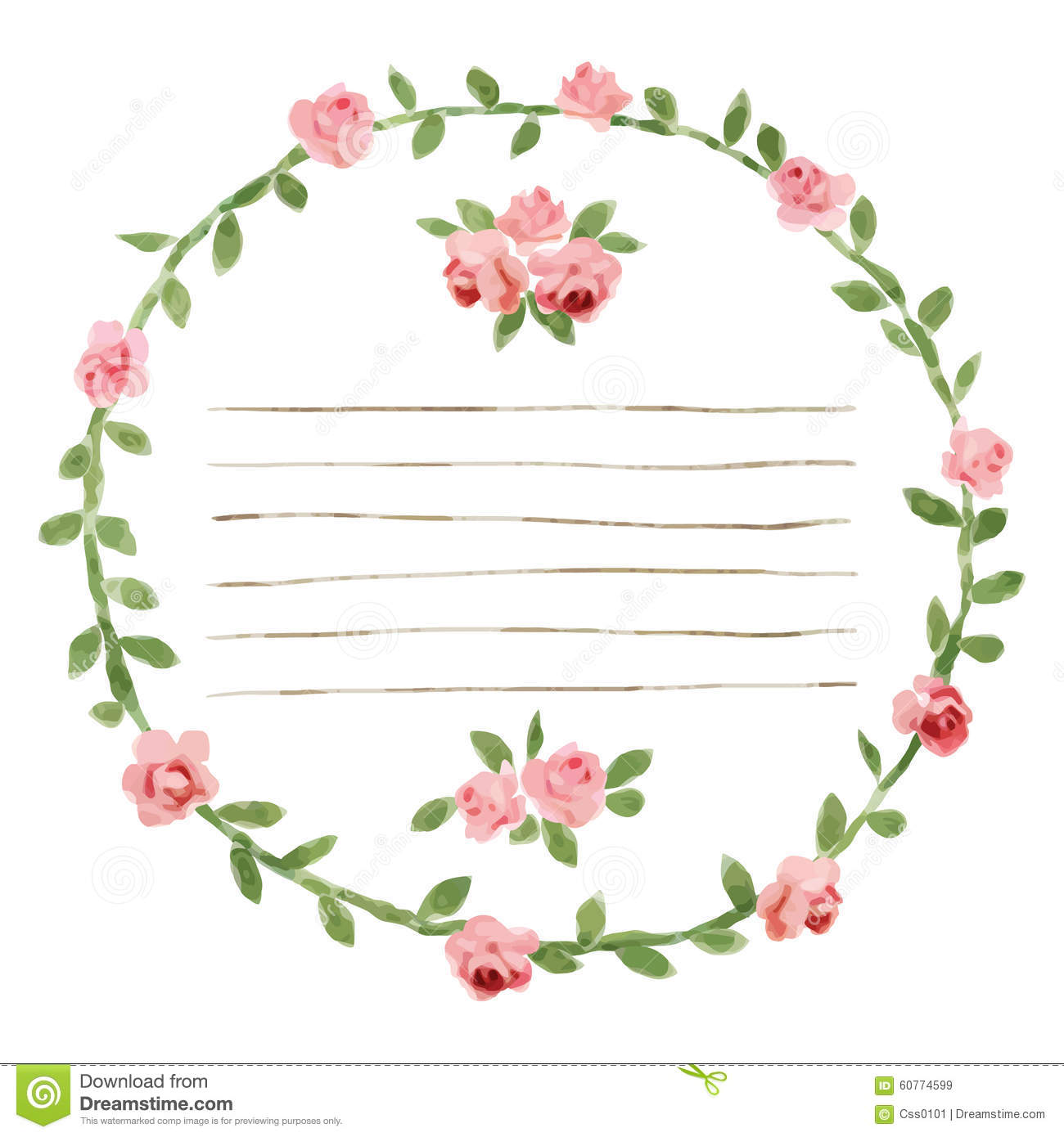 Vector Watercolor Round Frame With Roses And Foliage Elements Hand Draw Floral Border Stock