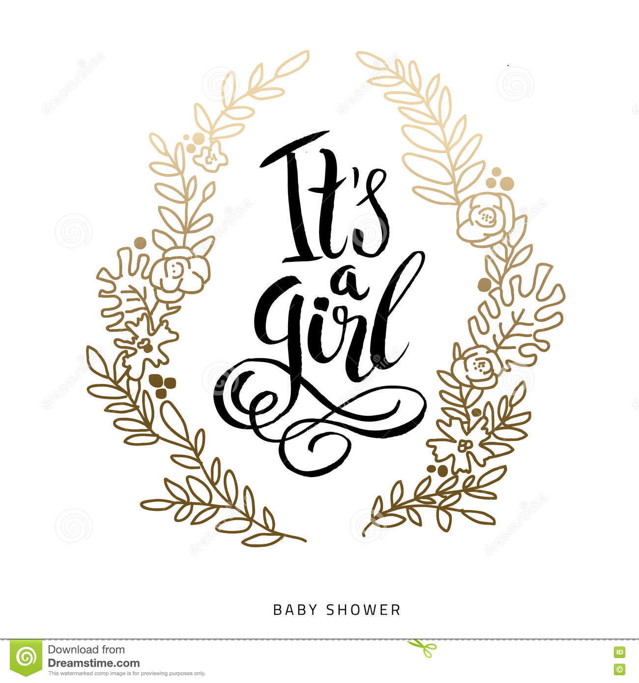 Vector sticker with gold foil. Calligraphy lettering Its a girl. Baby ...