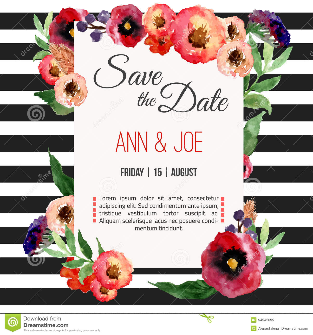 Vector Watercolor Template Save The Date With Floral Frame Leaves