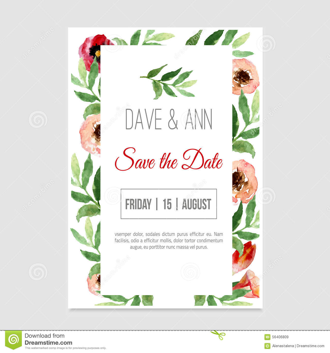Vector watercolor template save the date with floral frame leaves vector watercolor template save the date with floral frame leaves artistic design for banners kristyandbryce Images