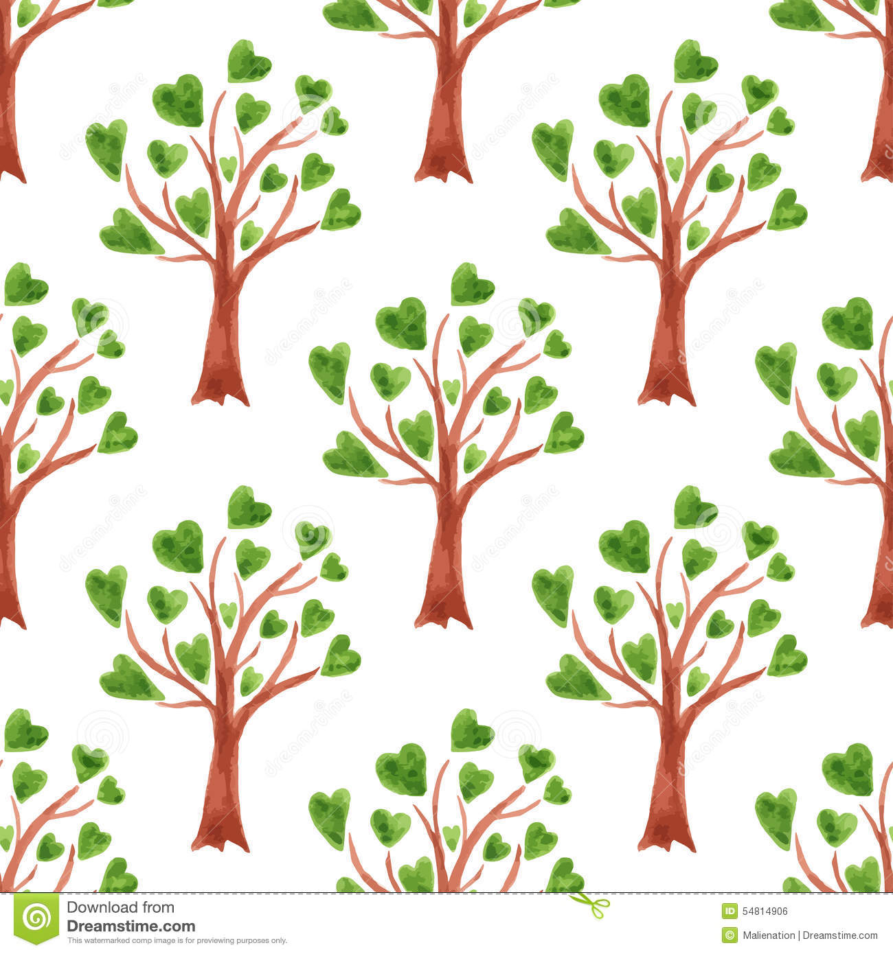Fabric tree pattern - Vector Watercolor Trees Seamless Pattern Trees With Leaves In Hearts Can Be Used For
