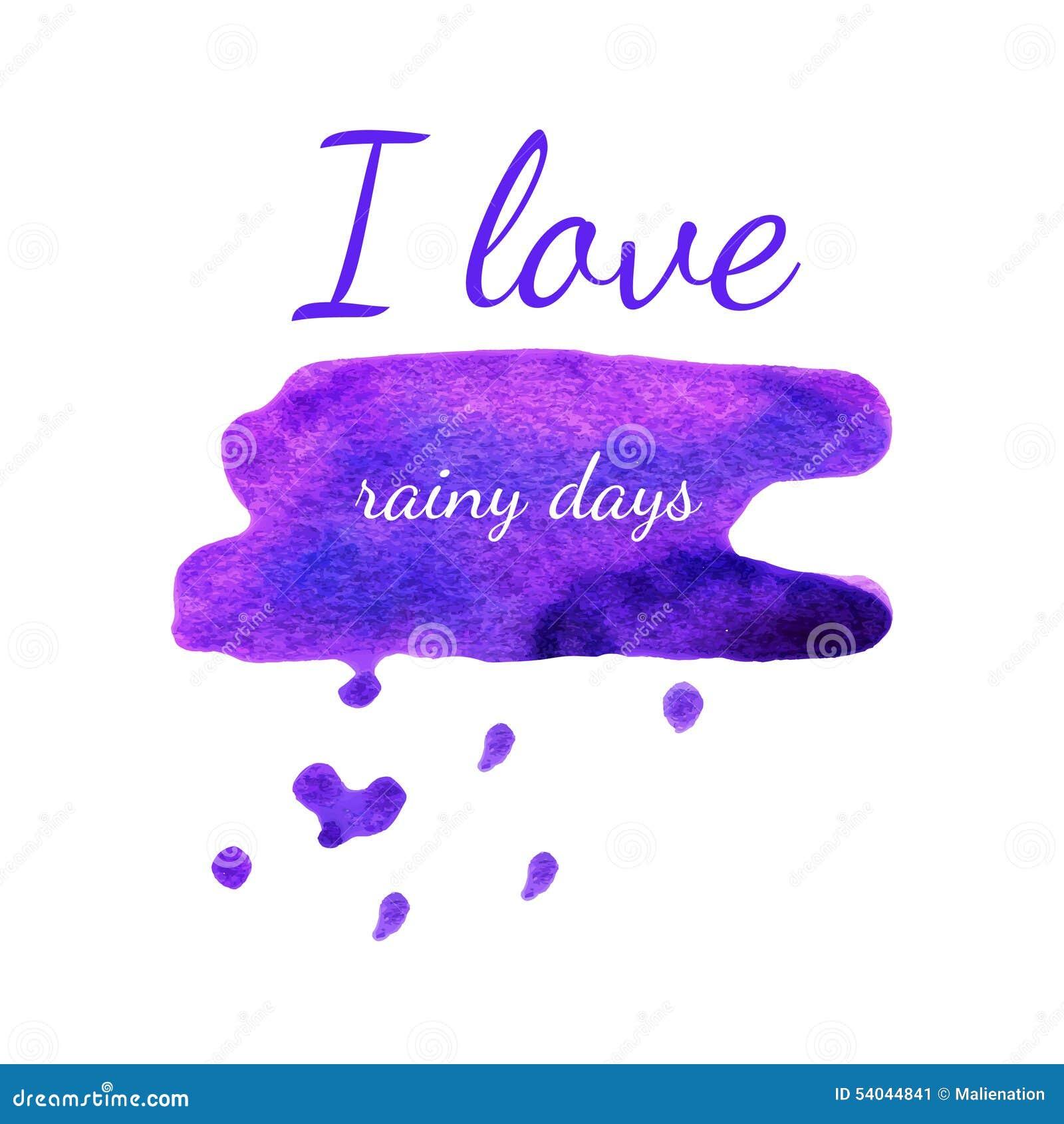 Vector Watercolor Valentine Weather Banner. Violet Spot Heart Ba