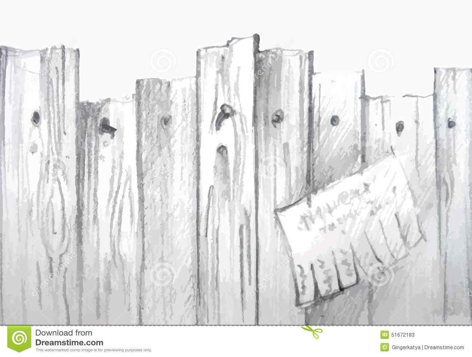 Vector Watercolor Wooden Fence Stock Vector Image 51672183