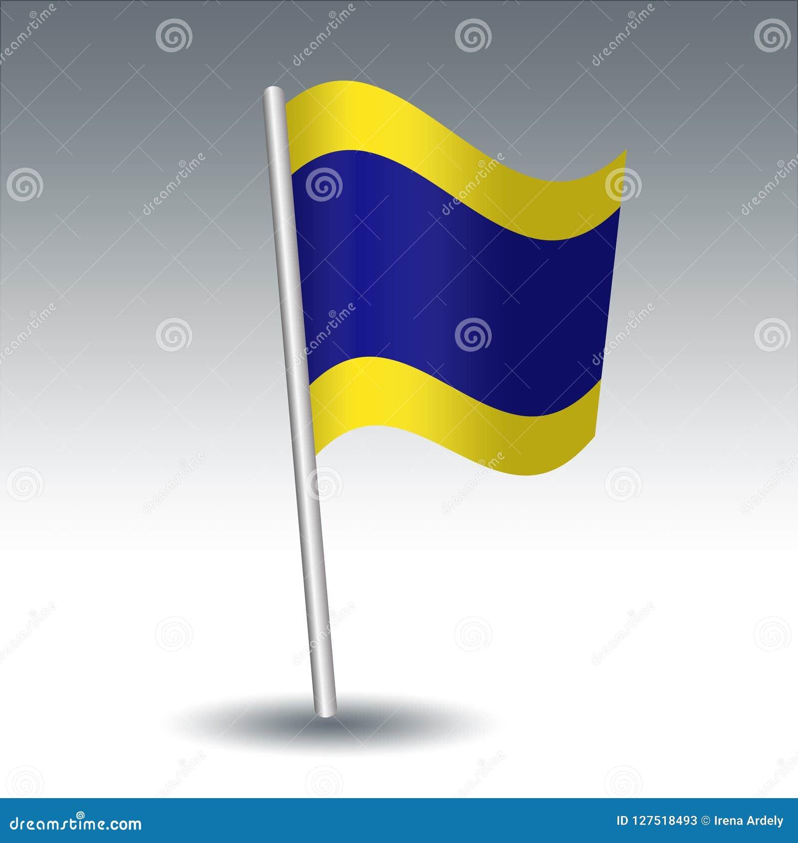 Vector Maritime Signal Flag D Delta On Slanted Metal Silver Pole