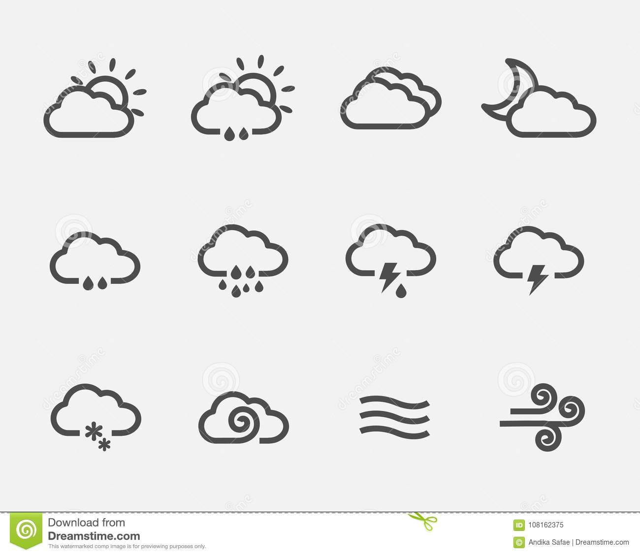 Weather clouds icons stock vector