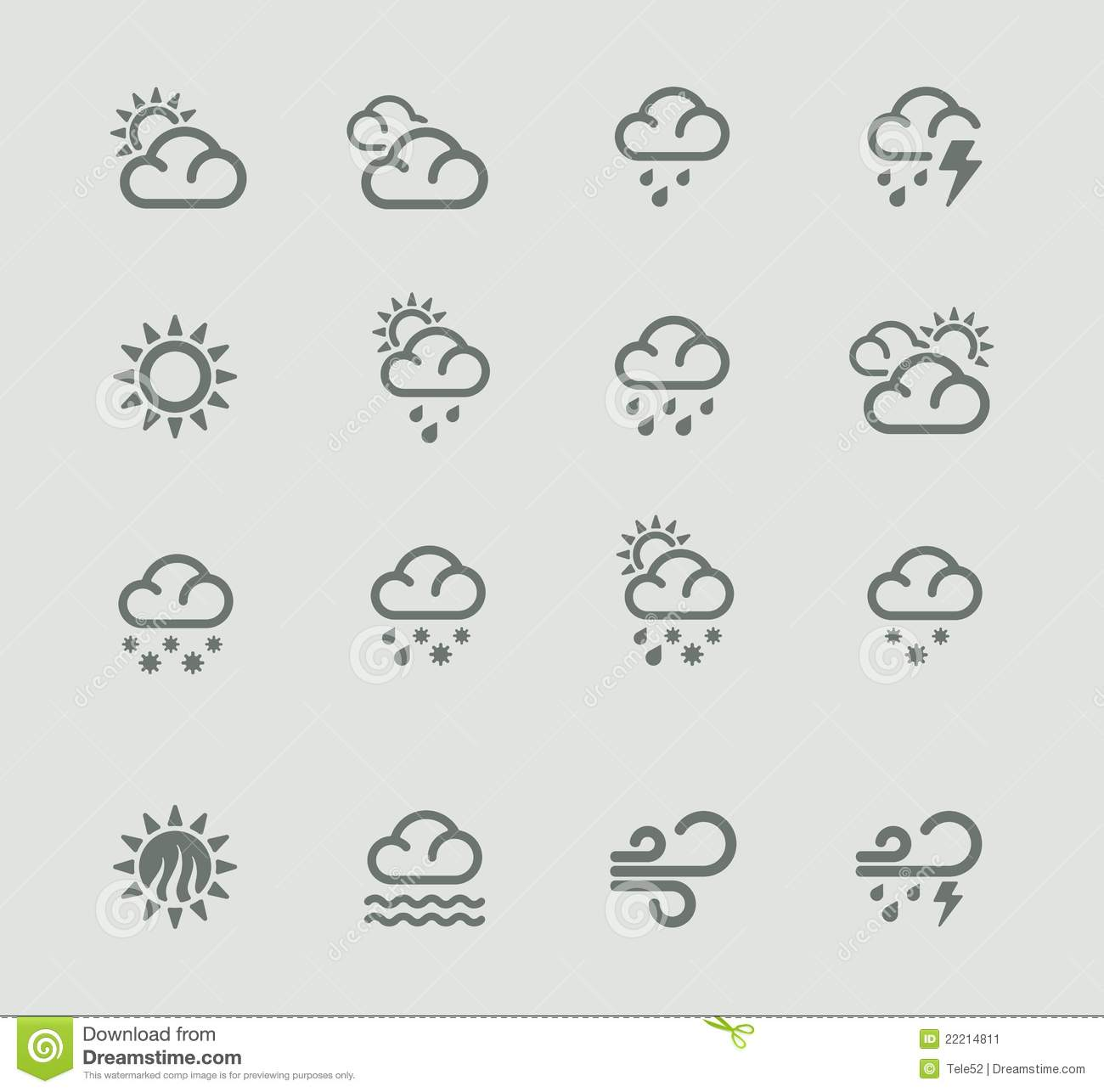 Vector Weather Forecast Pictogram Set. Part 1 Stock Image - Image ...