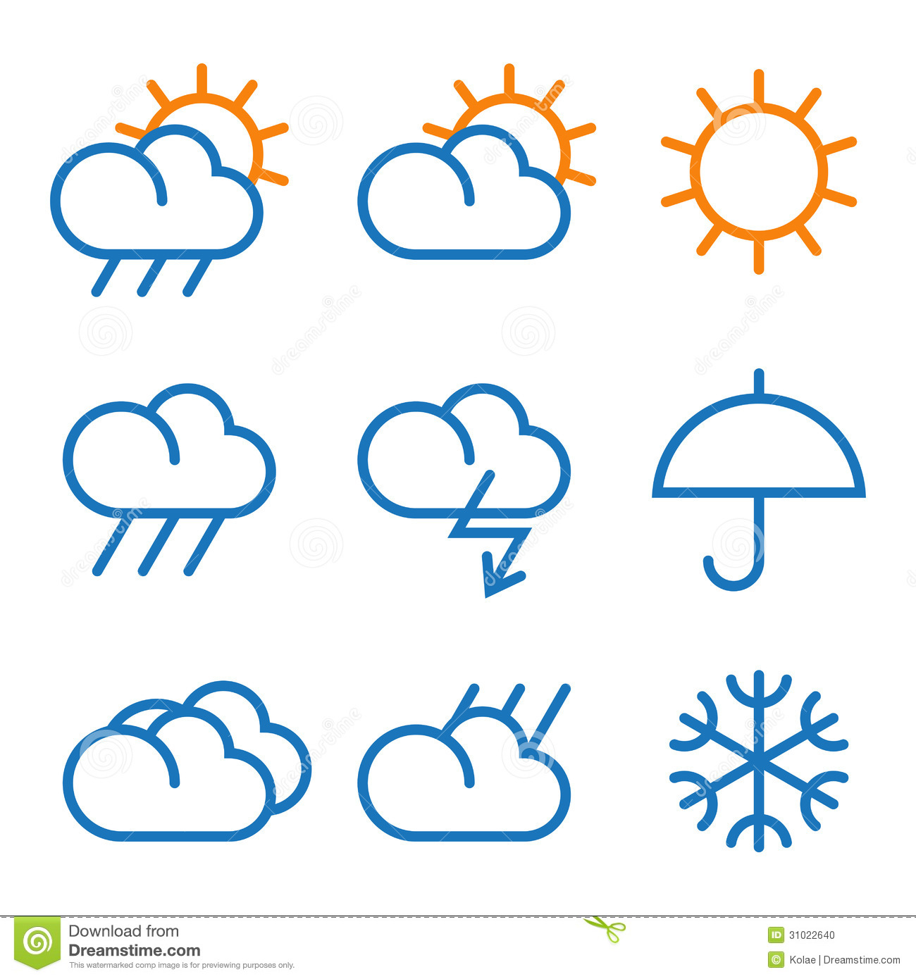 Vector Weather Symbols Stock Vector Illustration Of Climate 31022640