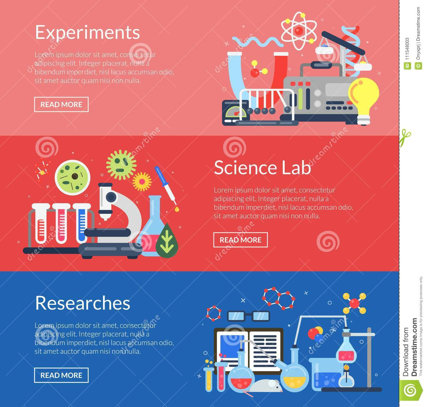 vector web banner templates with flat style science icons stock