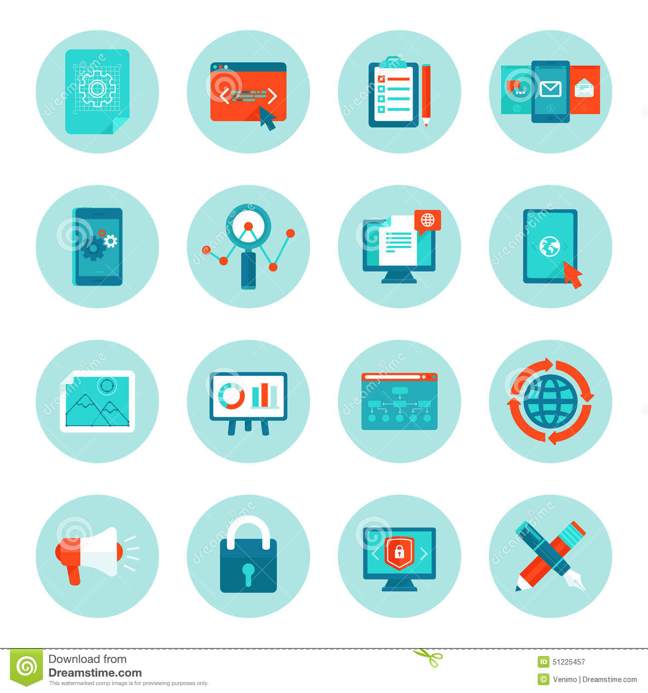 Vector Web Development And Digital Marketing Icons Stock