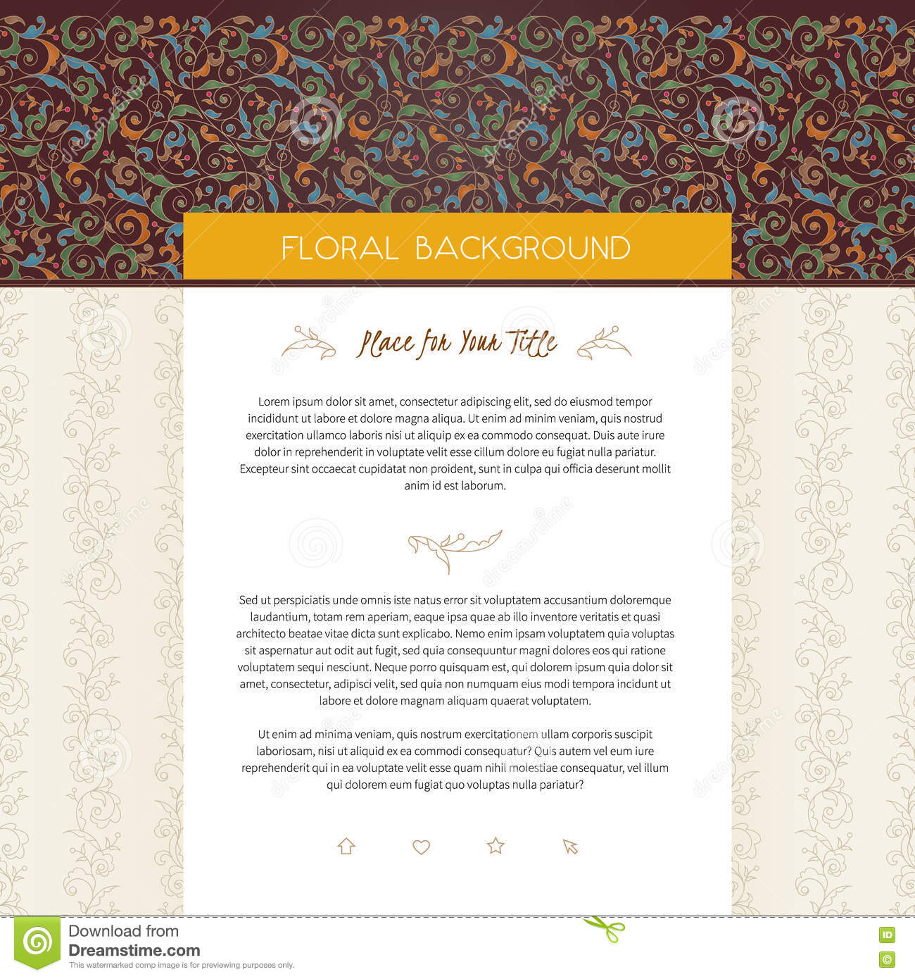 Vector web page design template in floral style.