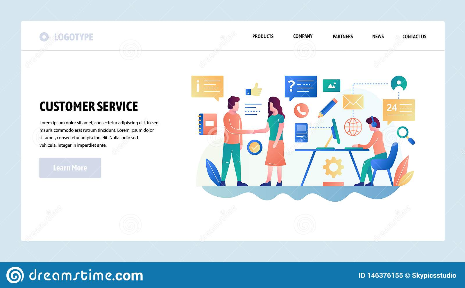 Vector web site design template. Customer service and online support chat, helpdesk, sales. Landing page concepts for
