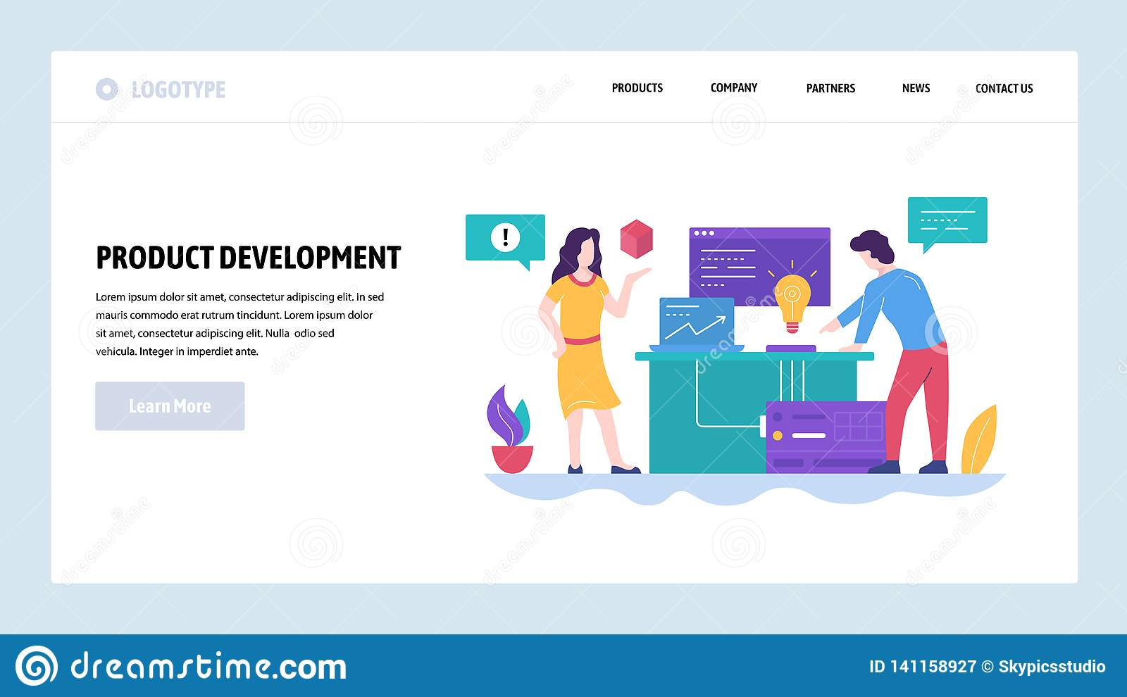 Vector web site design template. New product development, creatice idea. Team work in office. Landing page concepts for