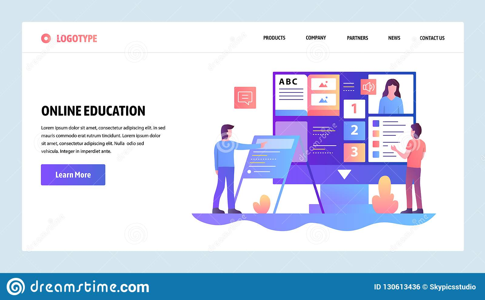Vector Web Site Design Template Online Education And E Learning Course Landing Page Concepts For Website And Mobile Stock Vector Illustration Of Landing Internet 130613436