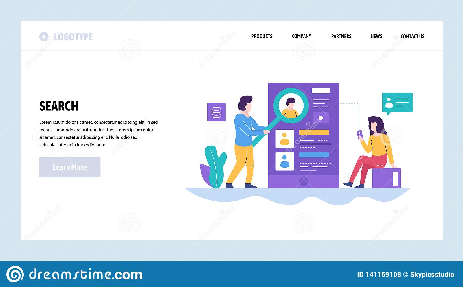 Vector Web Site Design Template People Search On Internet