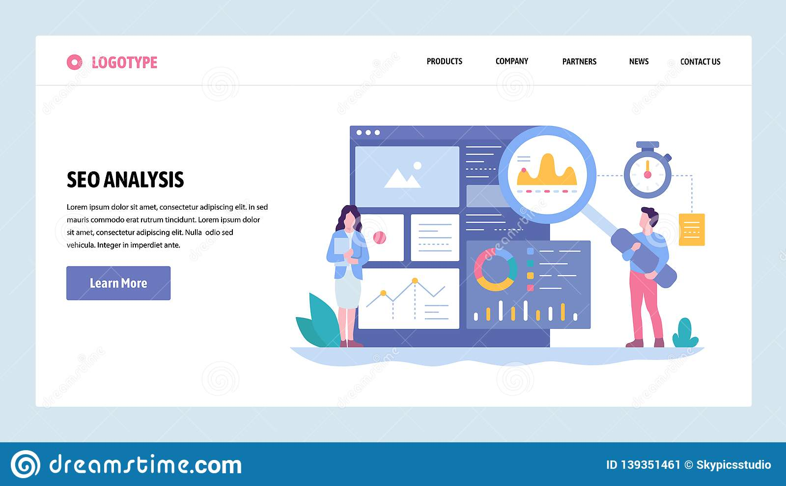 Vector Web Site Gradient Design Template Seo Analytics And