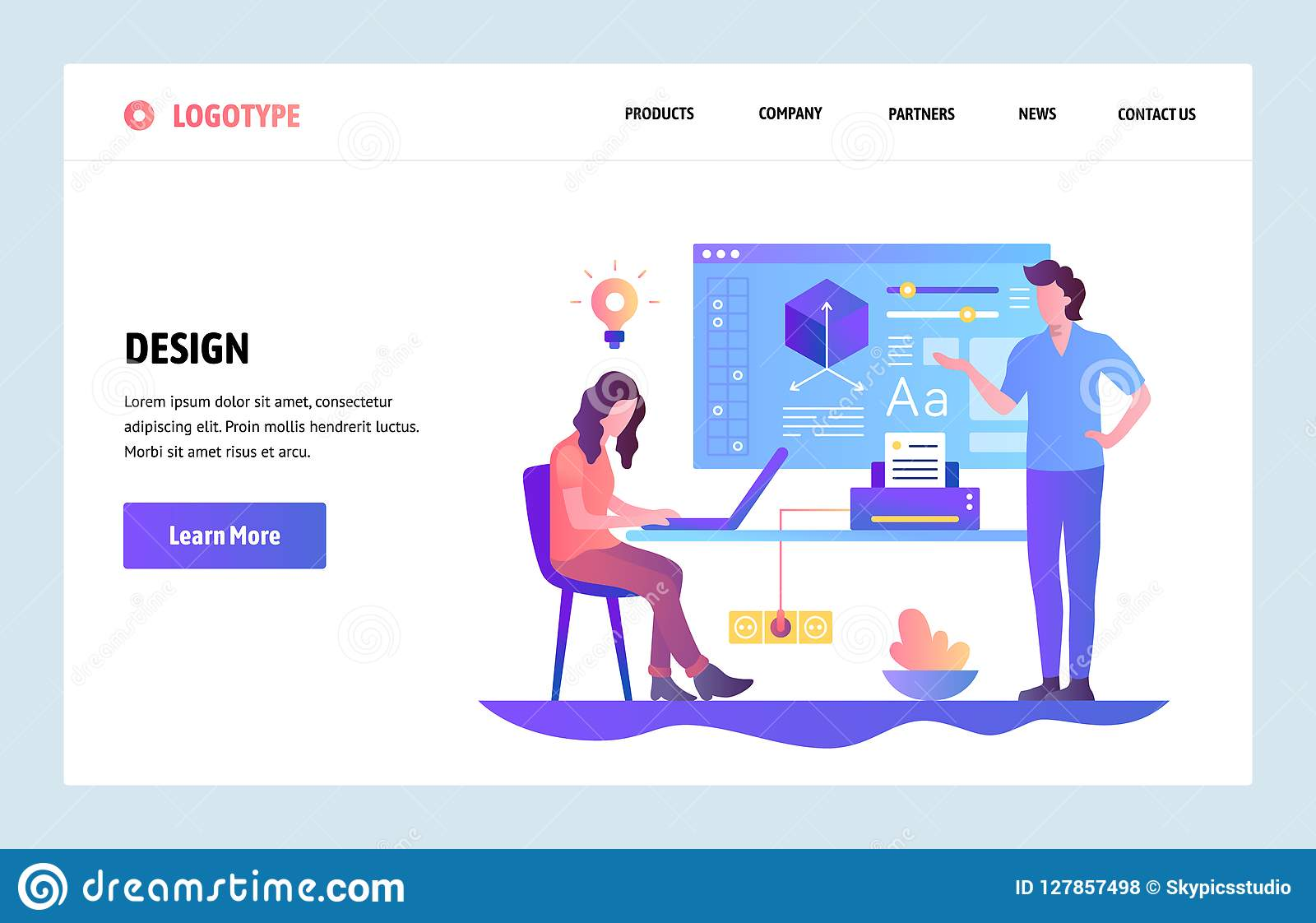 Vector Web Site Linear Art Design Template Design Learning Course Online Education And Design School Landing Page Stock Vector Illustration Of Launch Online 127857498