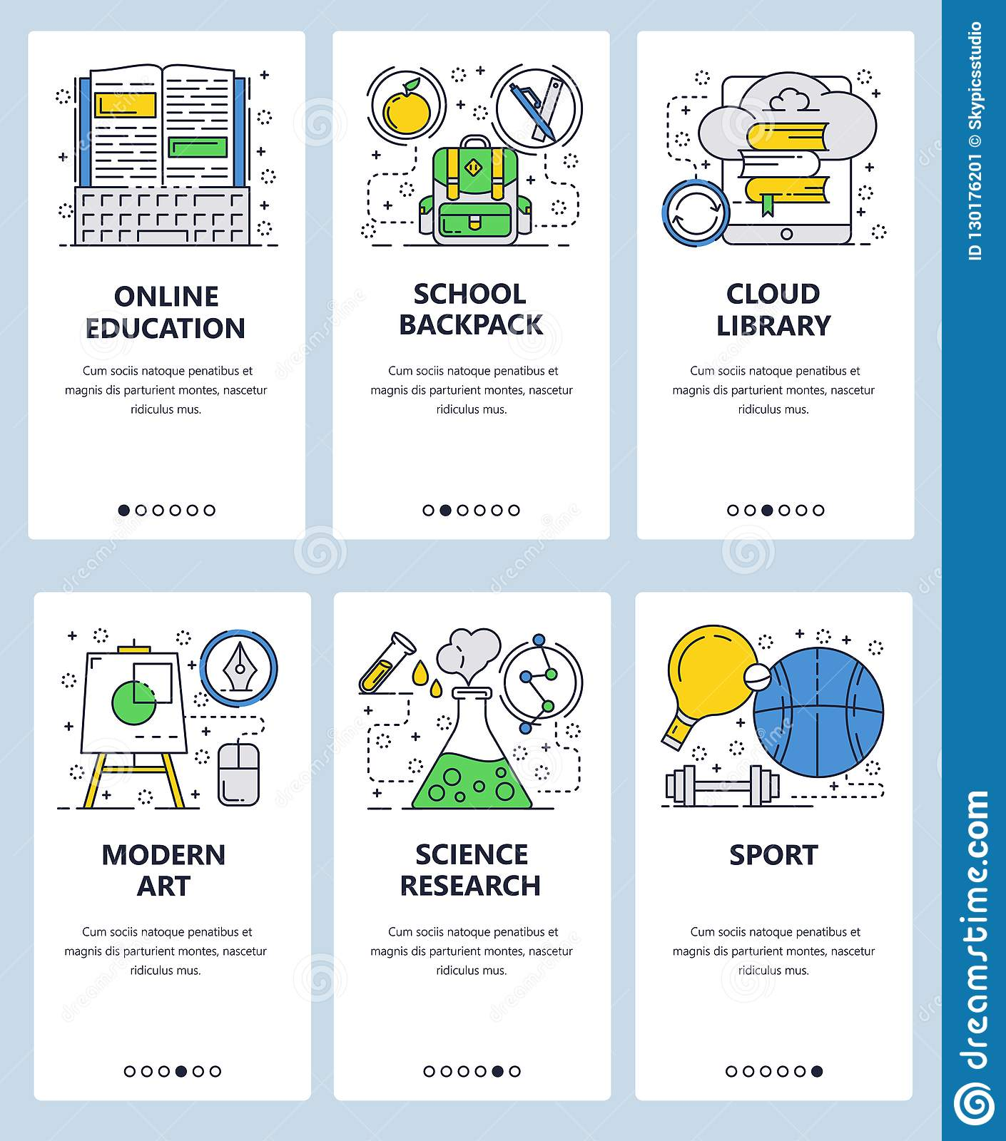 44af96ad8 Vector web site linear art onboarding screens template. Online school  education, cloud library,