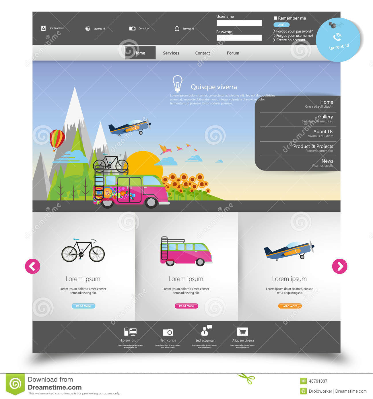 Vector Website Template For Tourism Stock Vector - Image: 46791037