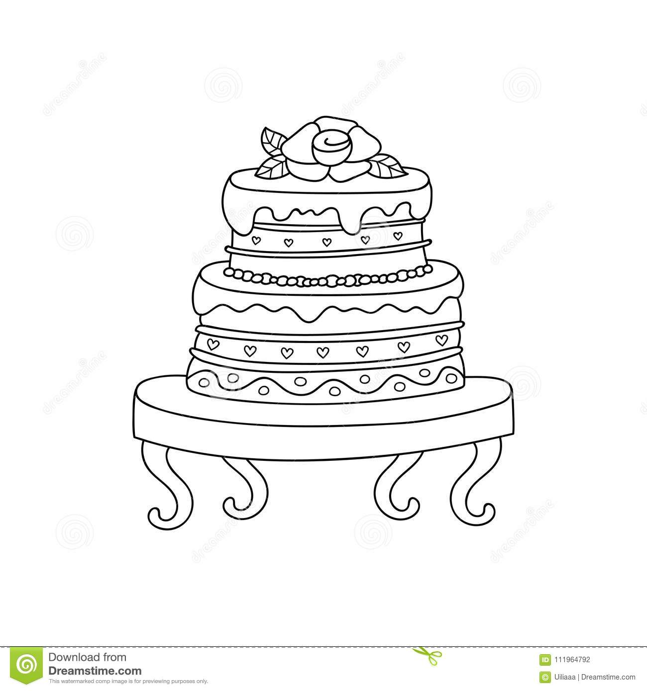 Vector Wedding Cake For Wedding Invitations Or Announcements. Stock ...