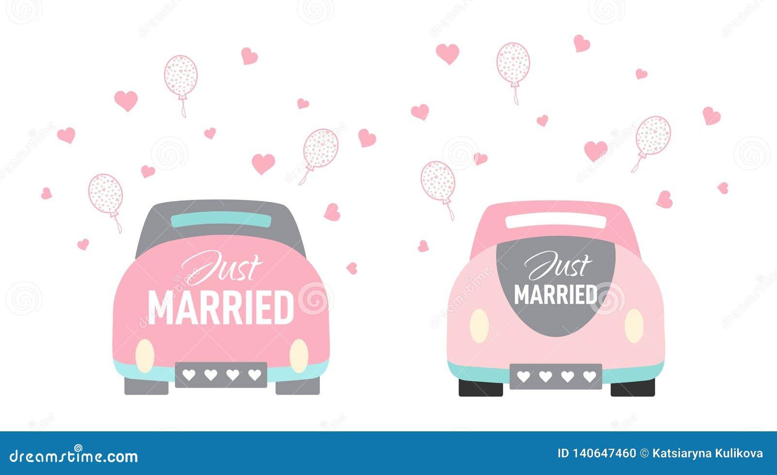 Vector Wedding Car Cartoon Style Just Married Stock Vector Illustration Of Heart Happy 140647460