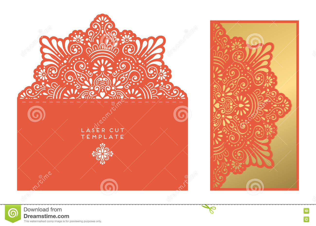 Vector Wedding Card Laser Cut Template Stock Vector - Illustration ...