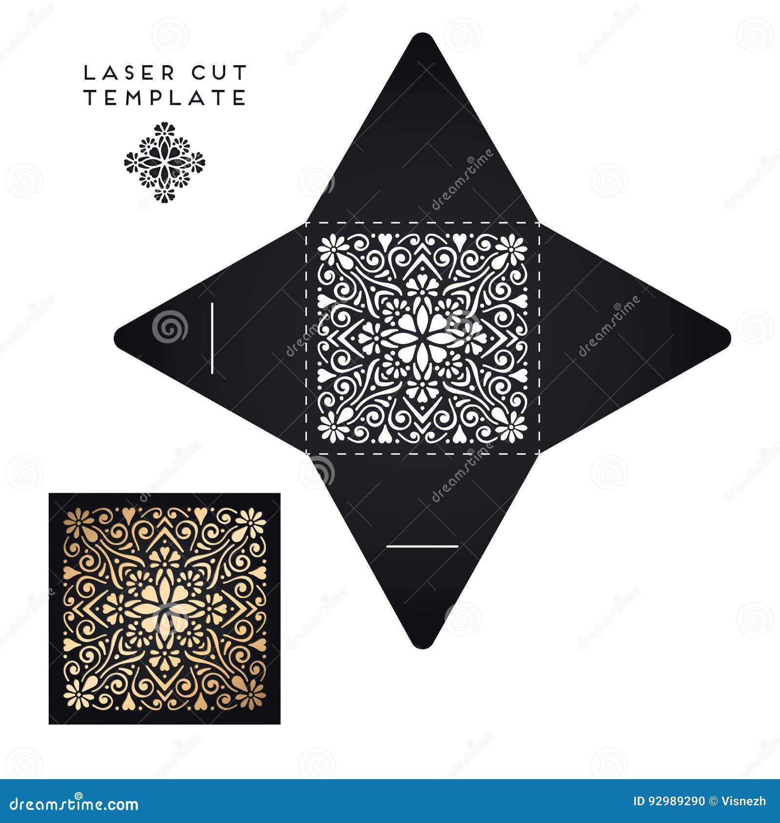 Vector Wedding Card Laser Cut Template Stock Vector - Illustration ...