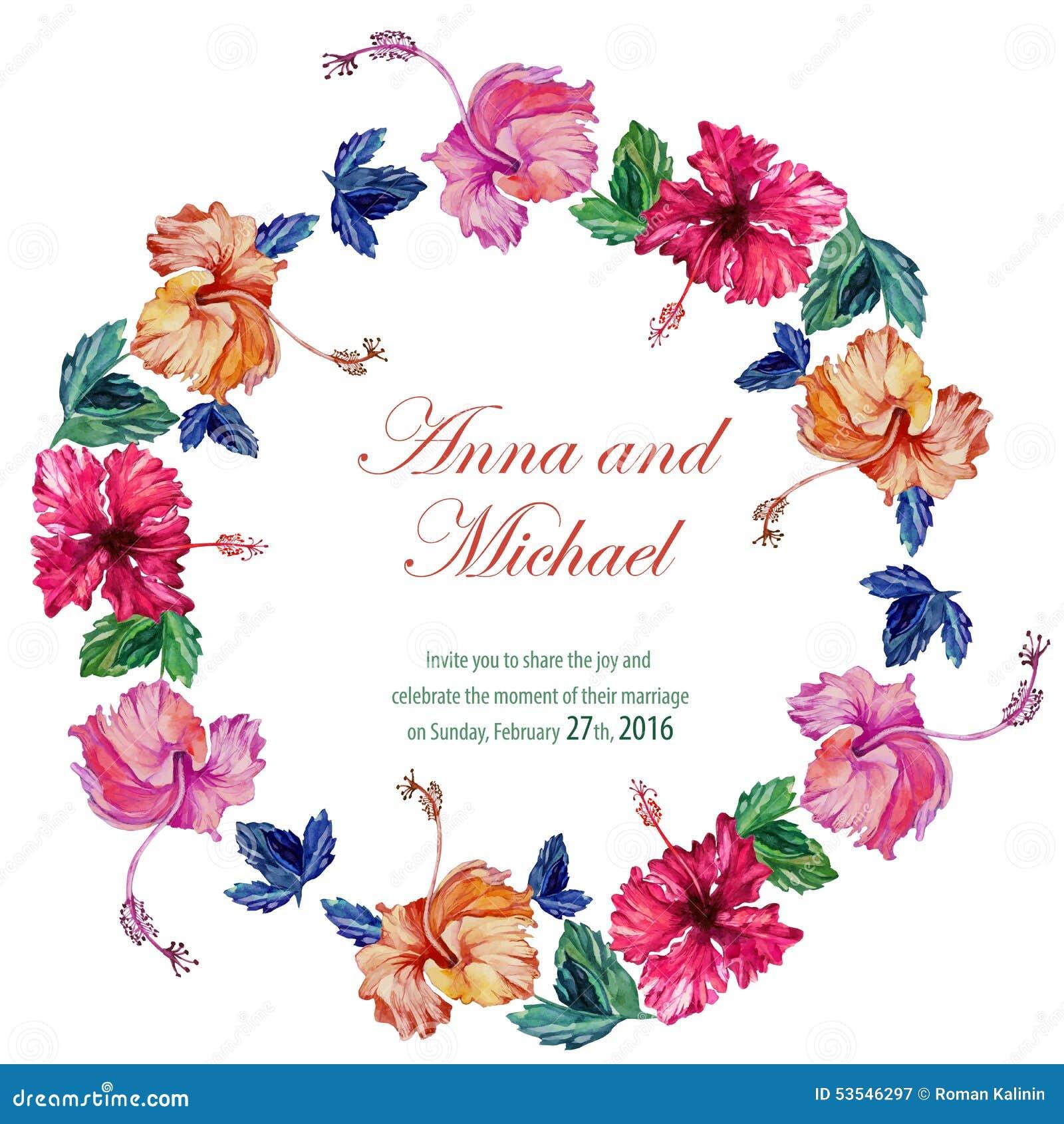 vector wedding cards with watercolor stock vector