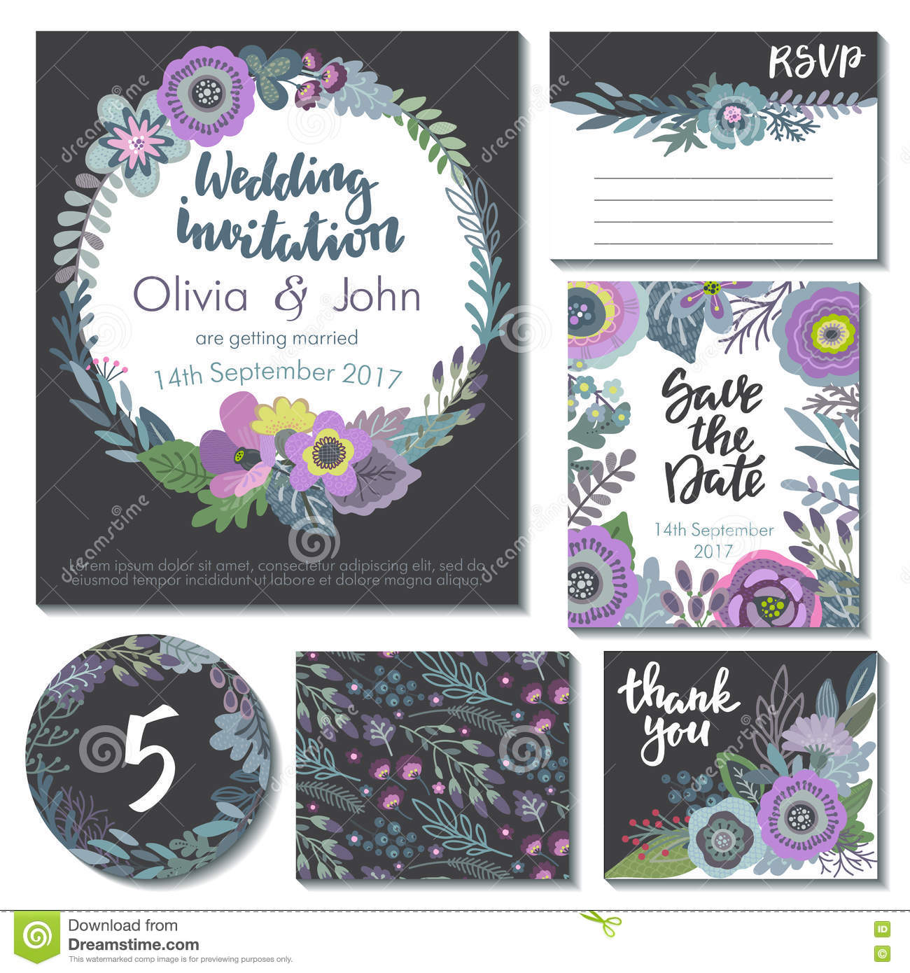vector wedding collection templates for invitation thank you card
