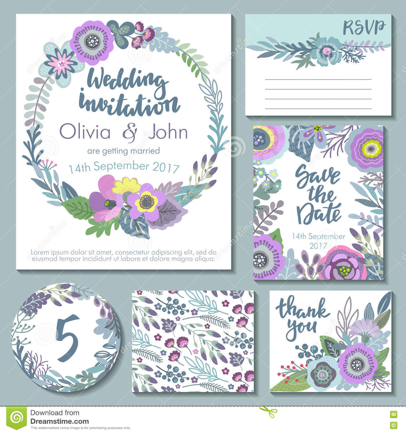 Save The Date Wedding Floral Ornament Wedding Floral: Vector Wedding Collection. Templates For Invitation, Thank