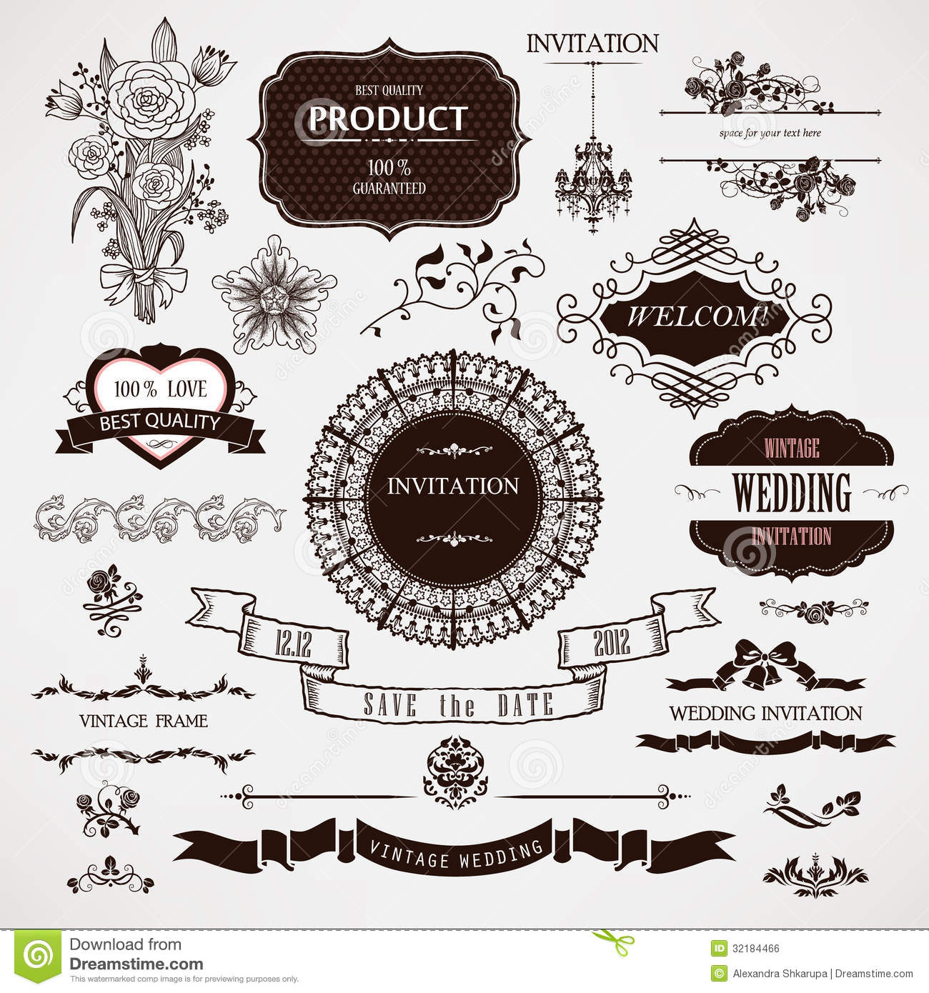 Wedding decoration elements vector gallery wedding dress wedding decoration elements vector junglespirit Gallery