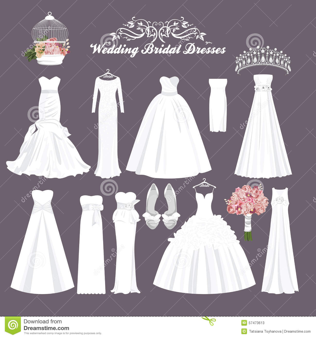 Vector Wedding Dresses In Different Styles. Fashion Bride