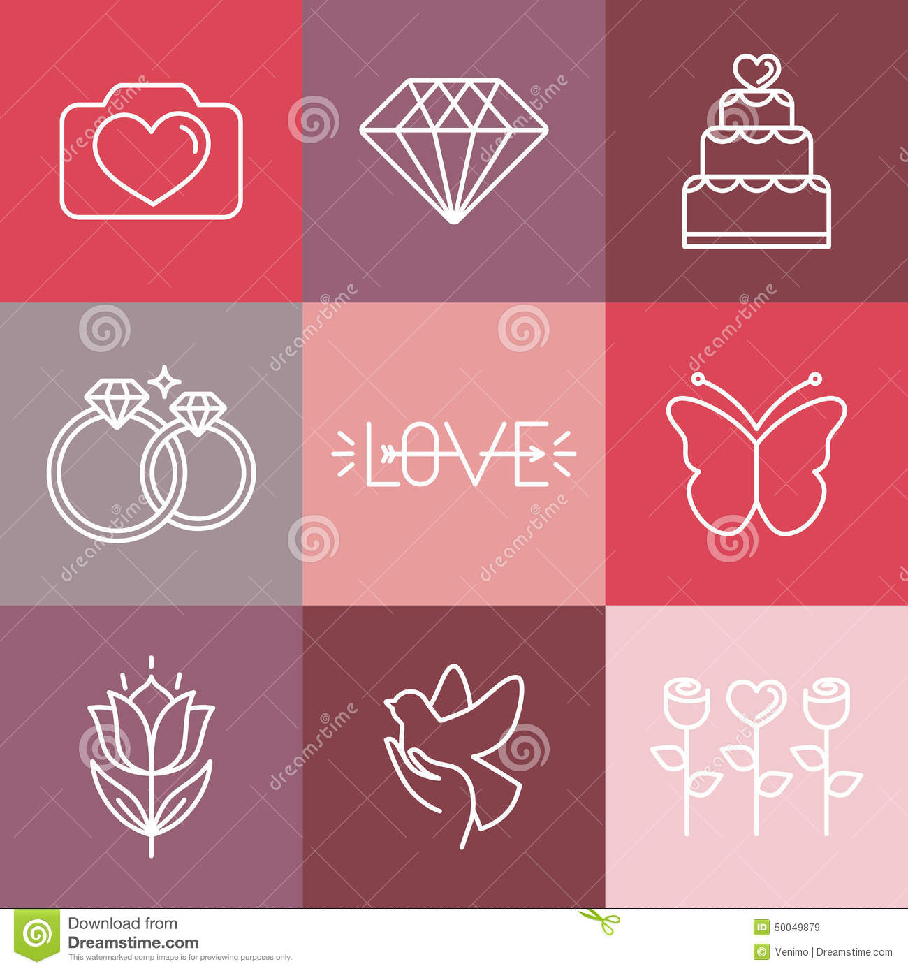Vector Wedding And Engagement Line Logos And Icons Stock Vector ...