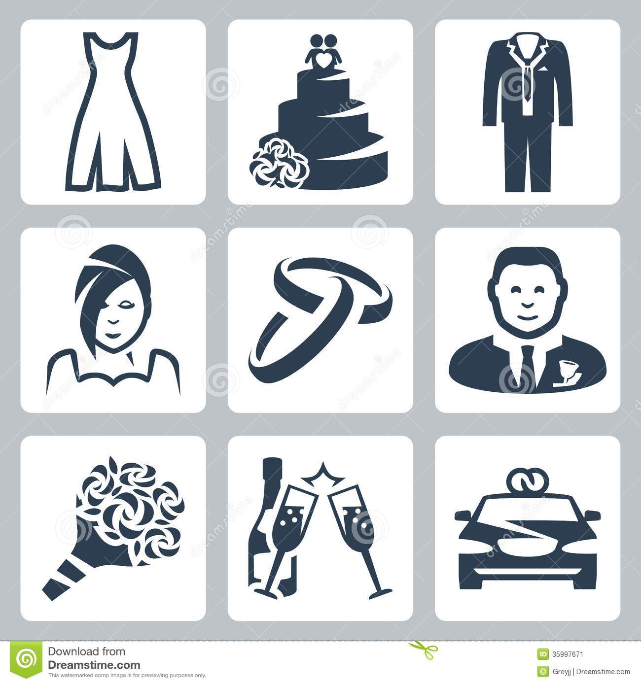 Vector Wedding Icons Set Stock Image - Image: 35997671