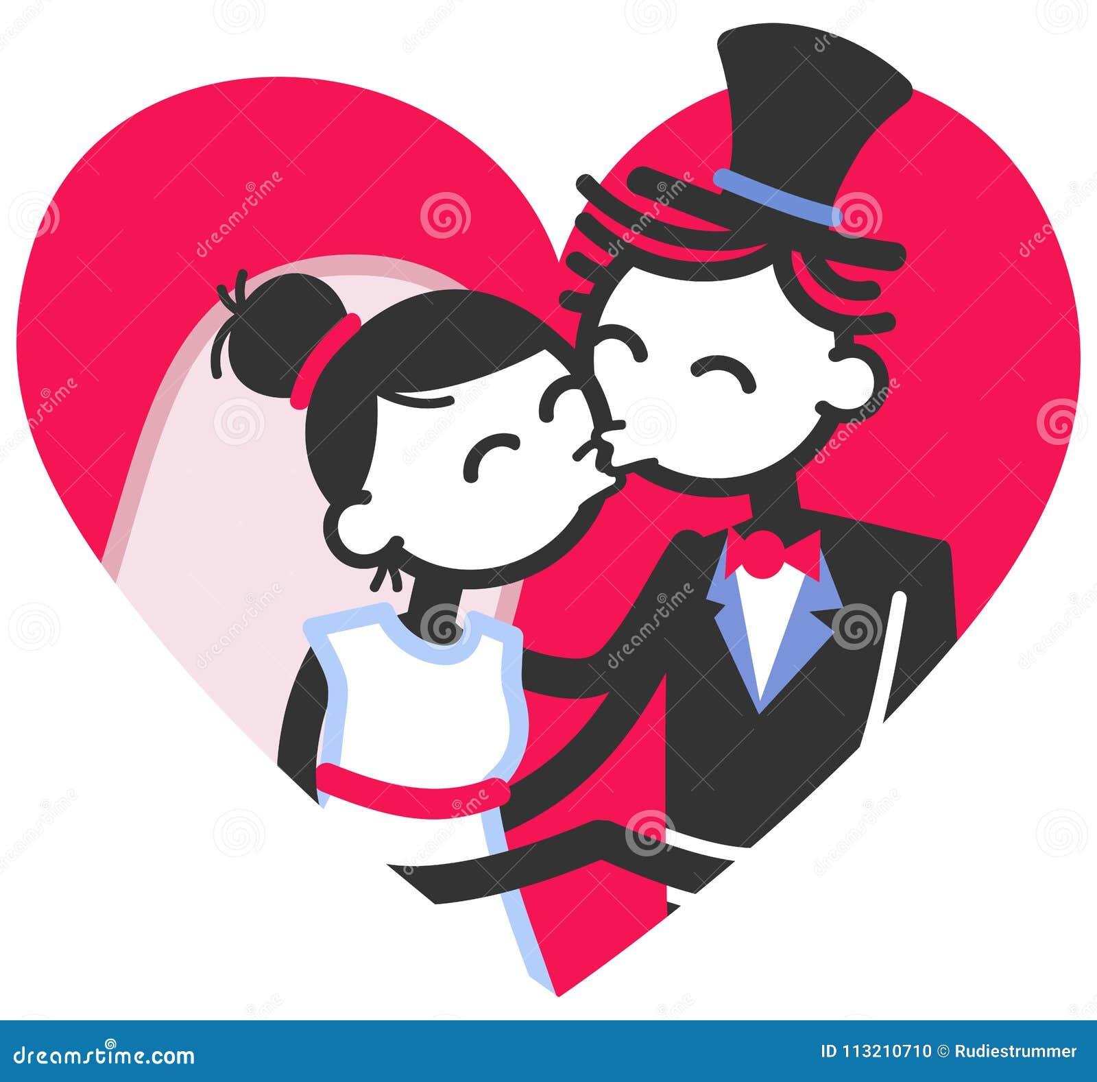 vector wedding illustration of cute stick figures bridal couple
