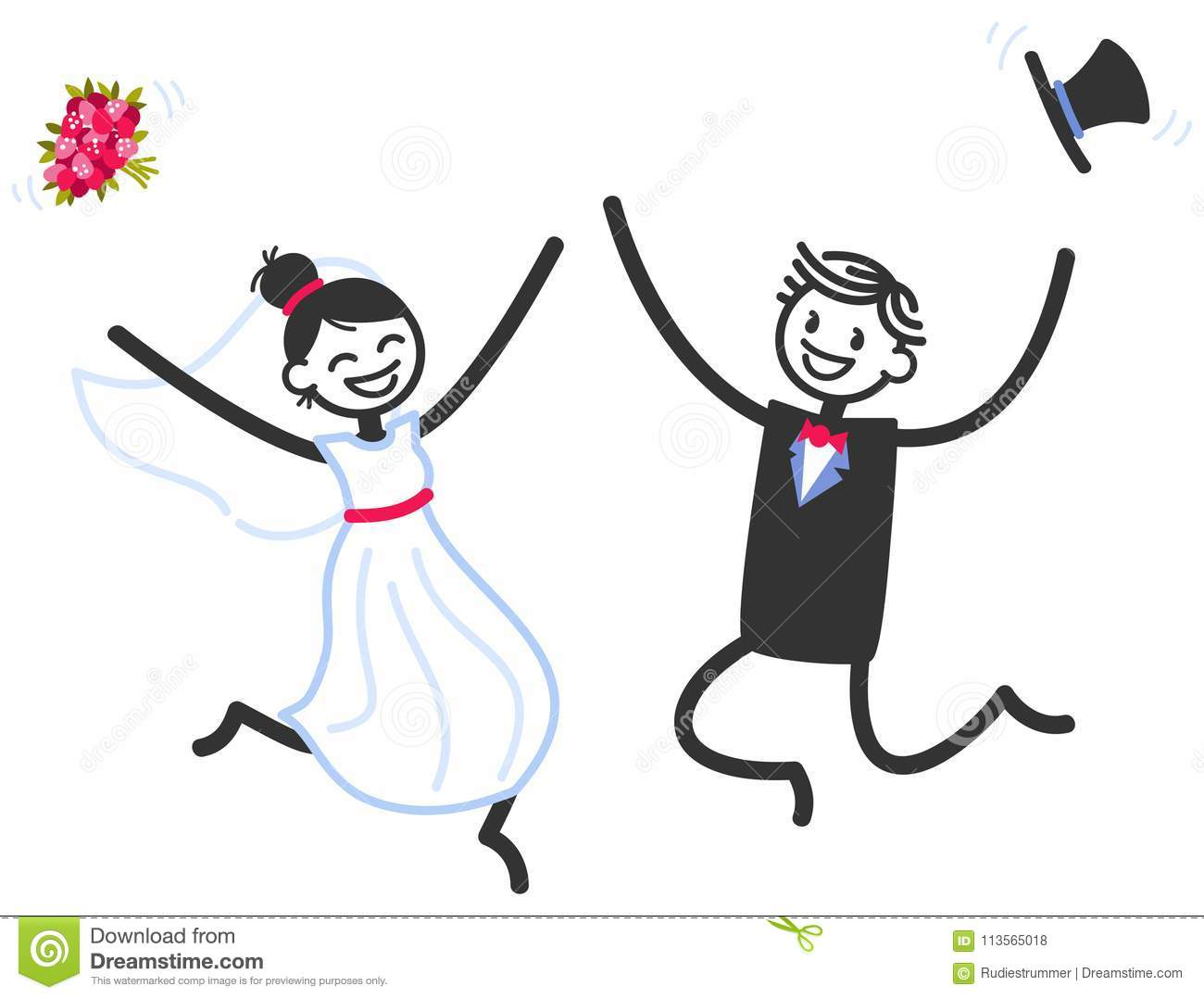 Stick Figure Wedding Invitations: Vector Wedding Illustration Of Happy Stick Figures Bridal