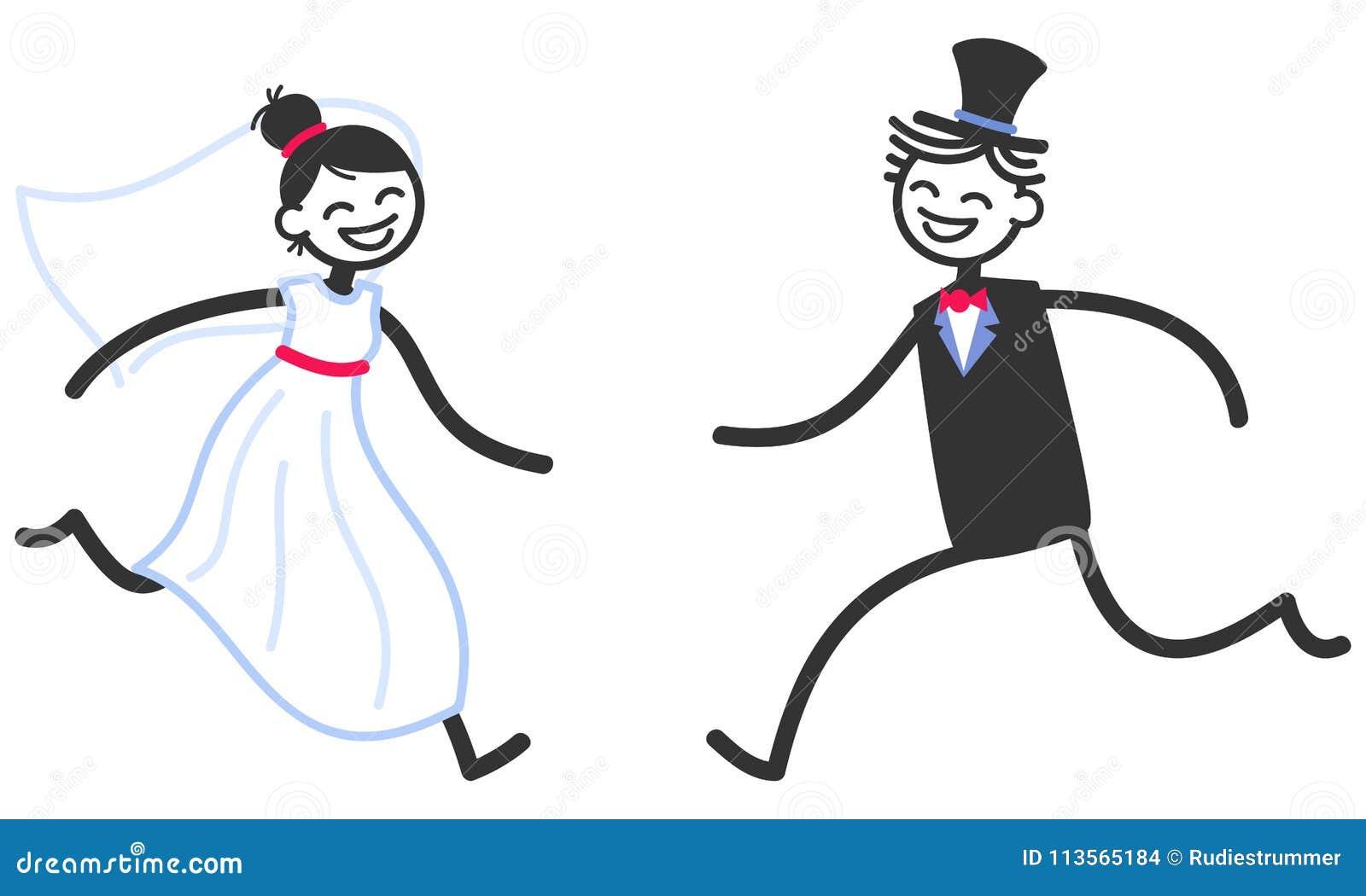 vector wedding illustration of happy stick figures bridal couple