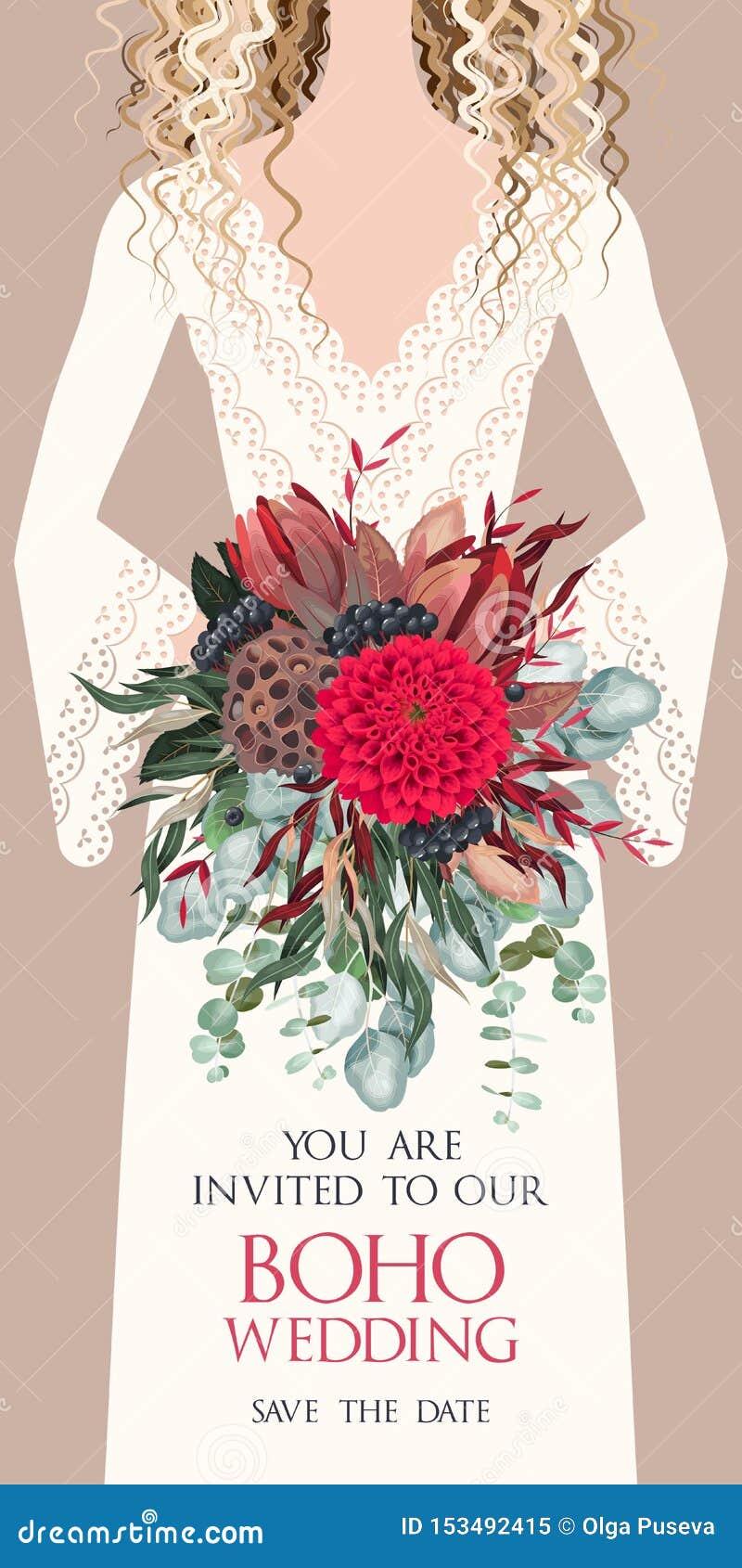 Vector Card With Bride And Wedding Bouquet Stock Vector Illustration Of Eucalyptus Bohemian 153492415