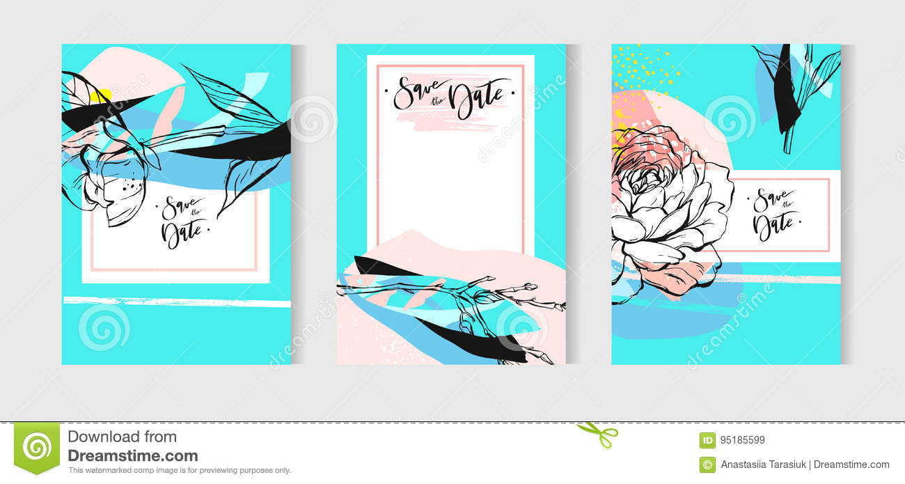 Vector Wedding Invitation Card Set With Floral Background In Tiffany ...
