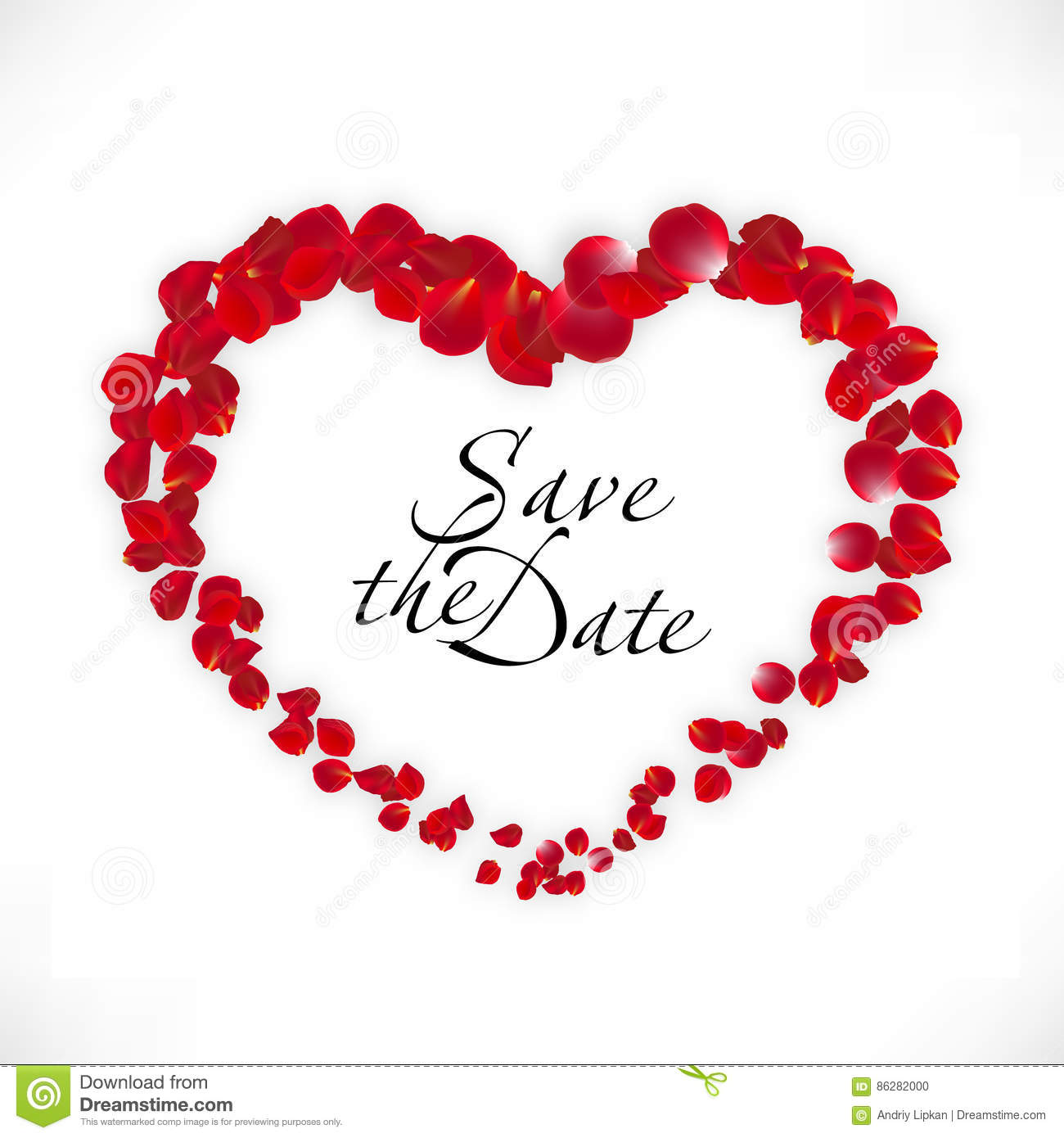 Vector Wedding Invitation. Inscription: Save The Date. Ribbon Inside ...