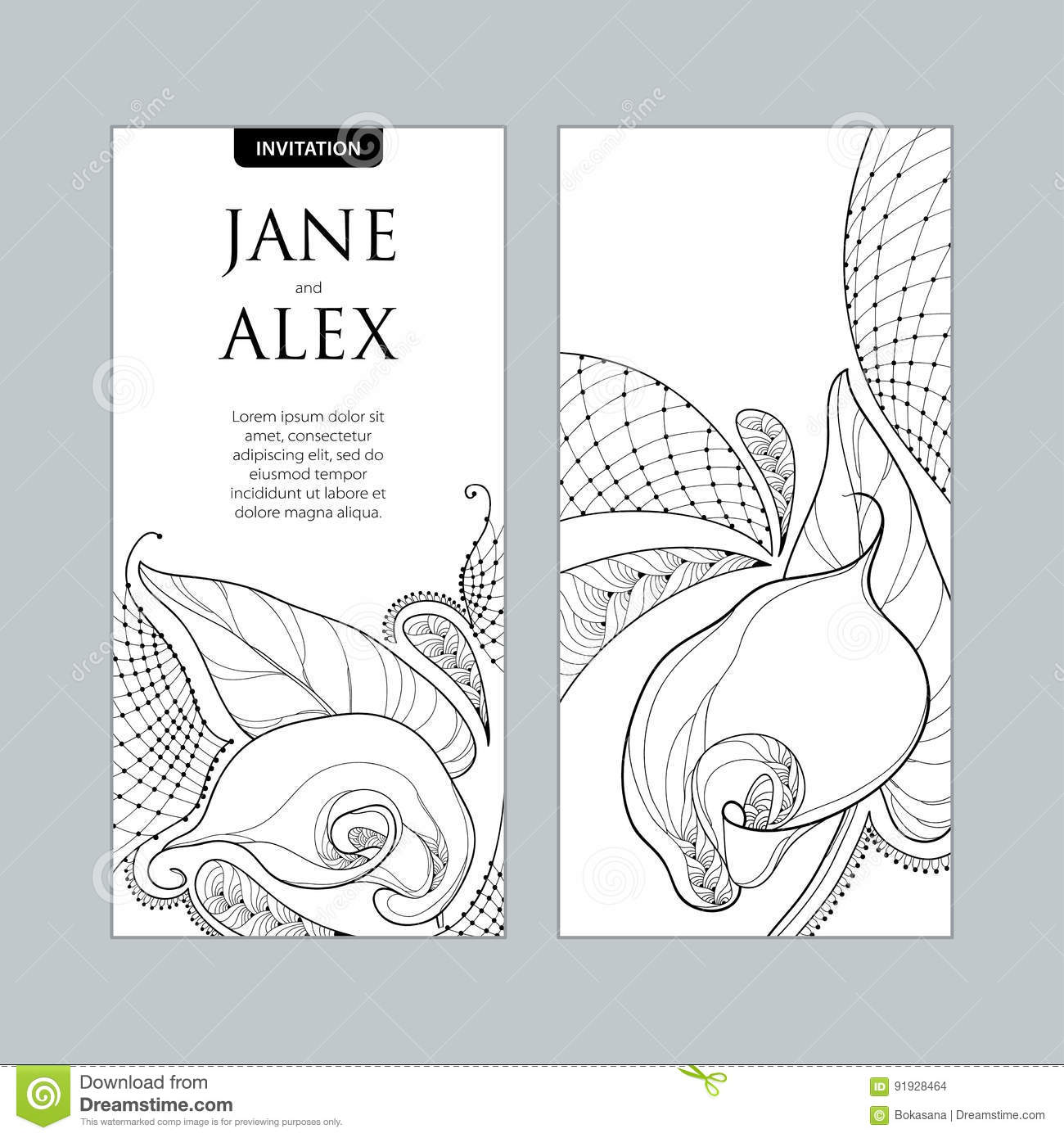 Vector Wedding Invitation With Outline Bouquet Calla Lily Flower Or