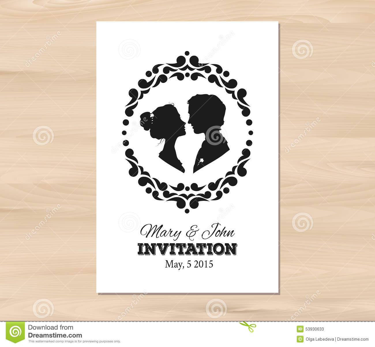 Vector Wedding Invitation With Profile Silhouettes Stock Vector Illustration Of Profile Decoration 53930633