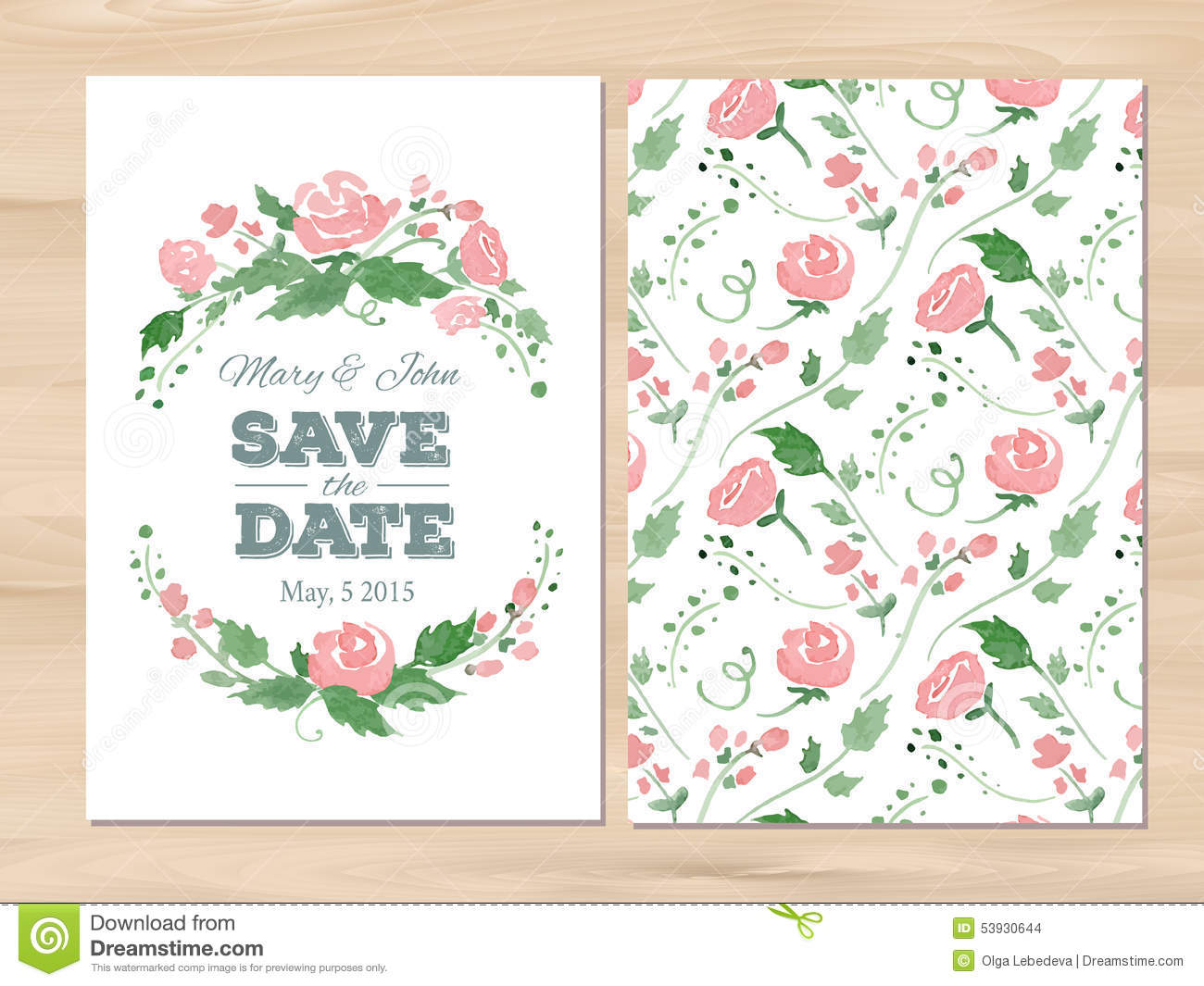 Vector Wedding Invitation With Watercolor Flowers Stock Vector