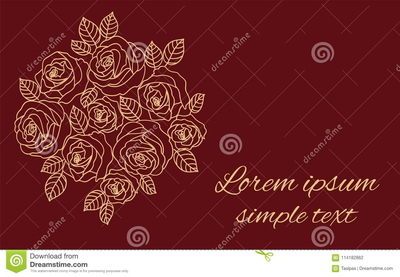 Wedding Invitations With Beige Outline Roses Wreath Stock Vector ...