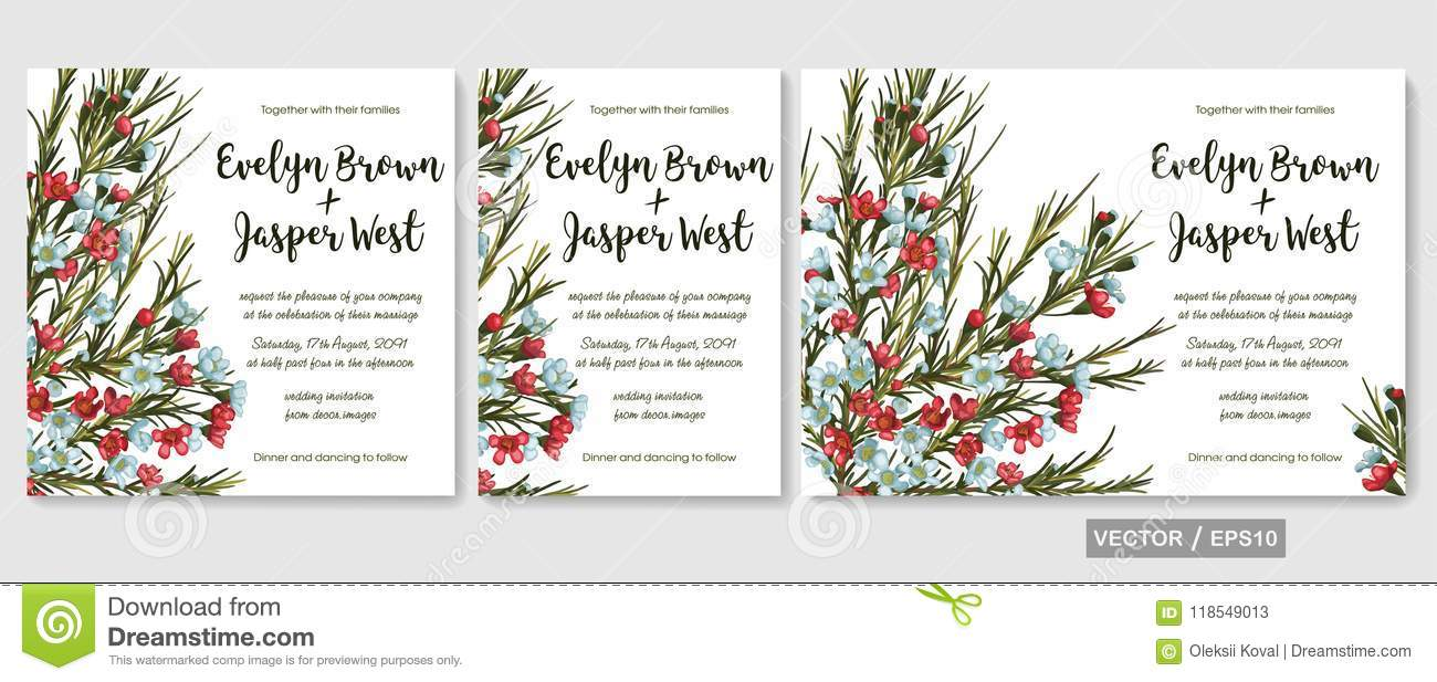 vector wedding invitations set with red and blue wax flowers ch