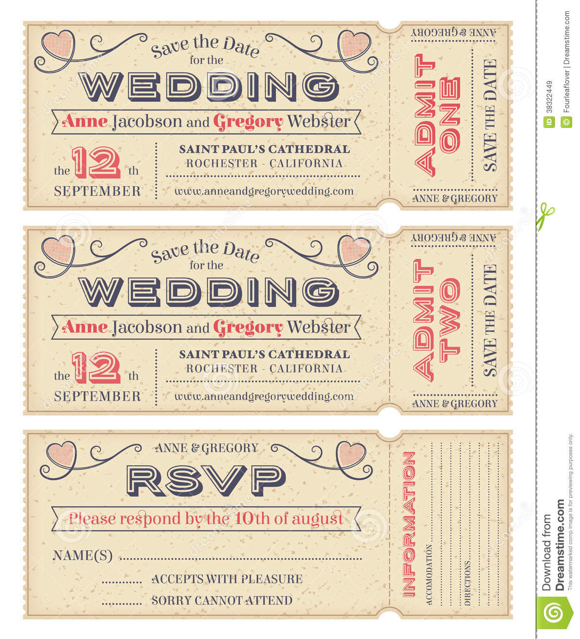 Vector Wedding Invite Tickets Stock Vector Image 38322449